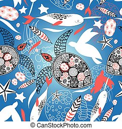 Pattern with sea turtles and whales