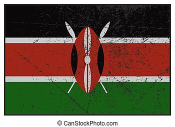 Kenya Flag Grunged - A grunged Kenya flag isolated on a...