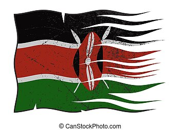 Kenya Flag Wavy And Grunged - A wavy and grunged Kenya flag...