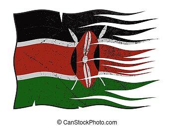 Kenya Flag Wavy And Grunged - A wavy and grunged Kenya flag...