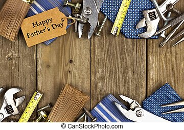 Happy Fathers Day gift tag with double border of tools and...