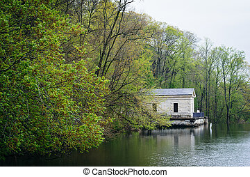 Spring color and building along Lake Roland, at Lake Roland...
