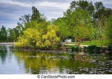 Spring color at the lake at Patterson Park, in Baltimore, Maryland.