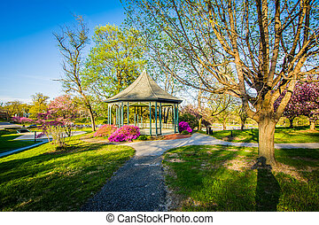 Gazebo and spring color at Notre Dame of Maryland University, in Baltimore, Maryland.