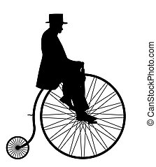 Gentleman On Penny Farthing Silhouette - A gentleman in a...