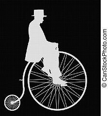 Gentleman On Penny Farthing White Retro Silhouette - A retro...