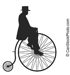 Gentleman On Penny Farthing Retro Silhouette - A retro penny...