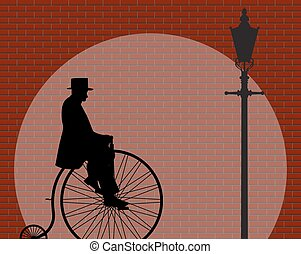 Penny Farthing Gentleman Brick Wall With Spotlight - A...