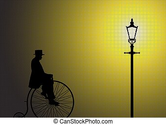 Retro Penny Farthing Gentleman In The Street Light - A...