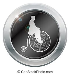 Gentleman Penny Farthing Silver Icon - A gentleman on a...