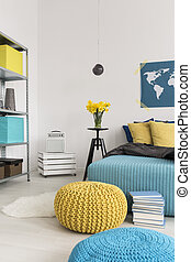 Bright colours in your bedroom - Cropped picture of a modern...