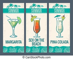 Alcohol cocktail set. Margarita, sex on the beach, pina...