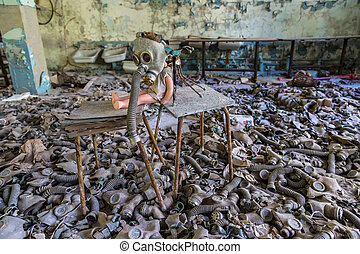 Creepy doll in Pripyat, Chernobyl - Creepy doll in middle...