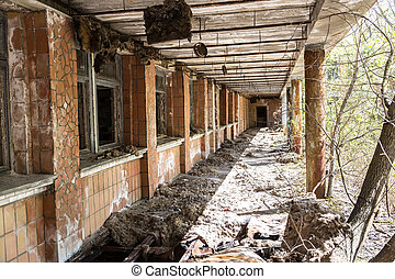 School in Chernobyl, Ukraine in a summer day