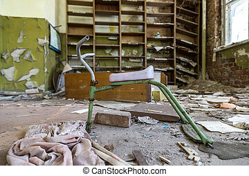 Abandoned kindergarten in Chernobyl, Ukraine in a summer day