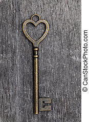 heart shaped vintage key - golden heart shaped vintage key...