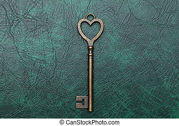 golden heart shaped key - golden heart shaped vintage key on...
