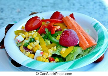 Tossed salad with a variety of fresh vegetables
