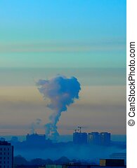 Smoke Moscow Pollution - A smoke from pipes in the centre of...