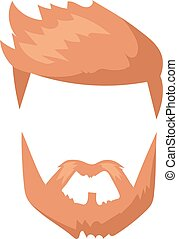 Hipster fashion man hair and beards mustache character...