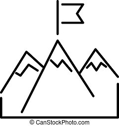 Line mountains with flag arrow success icon diagram symbol...