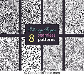 Vector Adult Coloring Book Textures Seamless Repeat Patterns...