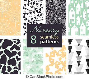 Vector Neutral Nursery Decor Repeat Seamless Patterns 8 Set...