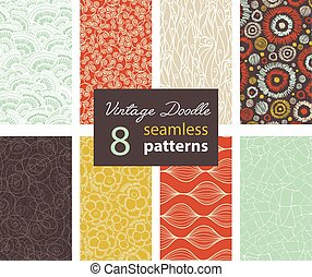 Vector Vintage Doodle Repeat Seamless Patterns 8 Set With Various Hand Drawn Textures In Matching Prints. Perfect for scrapbooking, wallpaper, bedding, furniture, packaging.