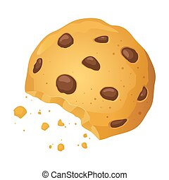 Chocolate Chip Cookies With Bite Mark Vector Illustration -...