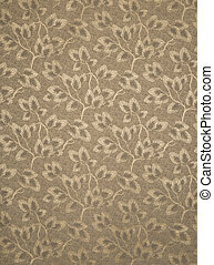 Tan Wallpaper with Leaves on Branches Pattern Swatch -...