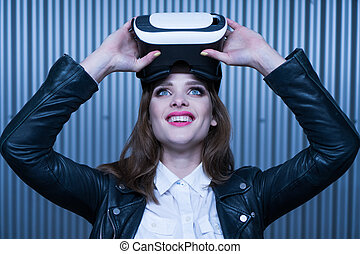 vr glasses woman - happy beauty woman getting experience...