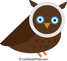 Owl wild bird cartoon vector - Owl wild bird and nature...