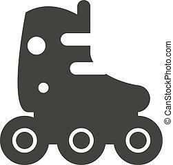 Roller skate icon silhouette shoe wheel boot design vector...