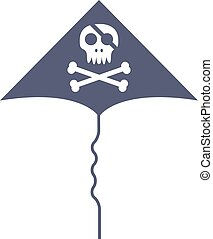 Jolly roger skull and cross bones pirate death head black flag vector illustration.