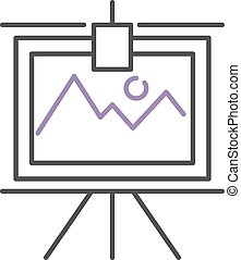 Graph with two lines on whiteboard flipchart icon business...