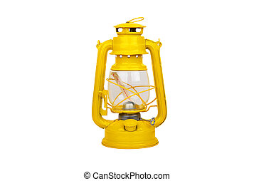 Vintage kerosene lantern - Yellow vintage kerosene lantern,...
