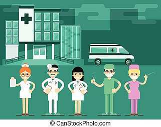 Health workers in the hospital background, vector