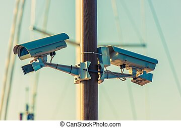CCTV Security Cameras on the Pole Public Places Surveillance...