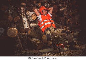 Hard Work Satisfaction - Lumber Wood Worker Break. Satisfied...