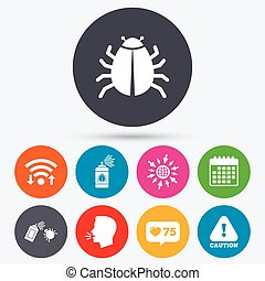 Bug disinfection signs Caution attention icon - Wifi, like...