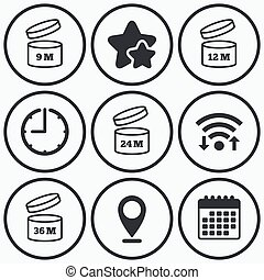 After opening use icons. Expiration date product - Clock,...