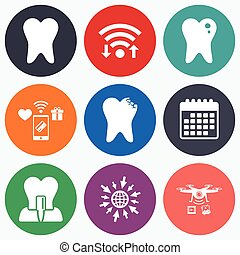 Dental care icons. Caries tooth and implant. - Wifi, mobile...