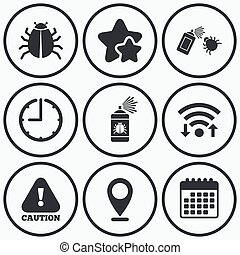 Bug disinfection signs Caution attention icon - Clock, wifi...