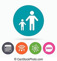 One-parent family with one child sign icon - Wifi, Sms and...