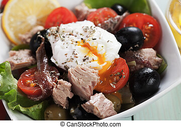 Salad Nicoise with tuna and poached egg