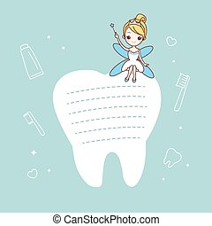 tooth note with tooth fairy - cartoon tooth note with tooth...