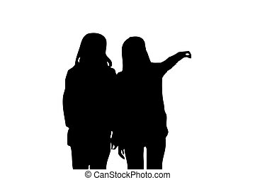 silhouette of two girl