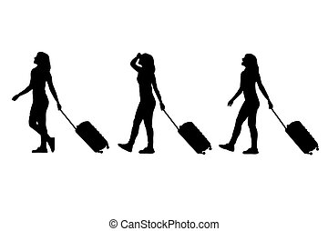 silhouette of woman with luggage - silhouette of young woman...