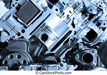 Automotive engine - Cut section showing details of...