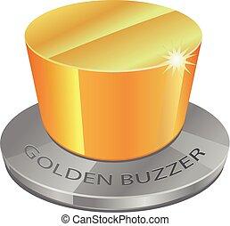 3D golden buzzer vector icon
